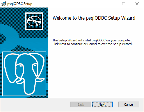 「psqlODBC Setup」-「Welcome」