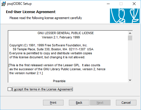 「psqlODBC Setup」-「License Agreement」