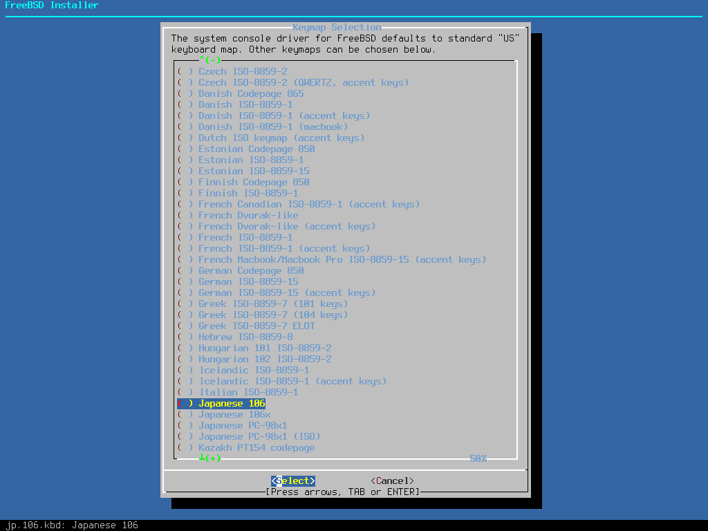 「FreeBSD 11.1 RELEASE」-「Keymap Selection」