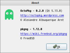 「MATE FreeBSD 12.1」- OctoPkg - バージョン情報