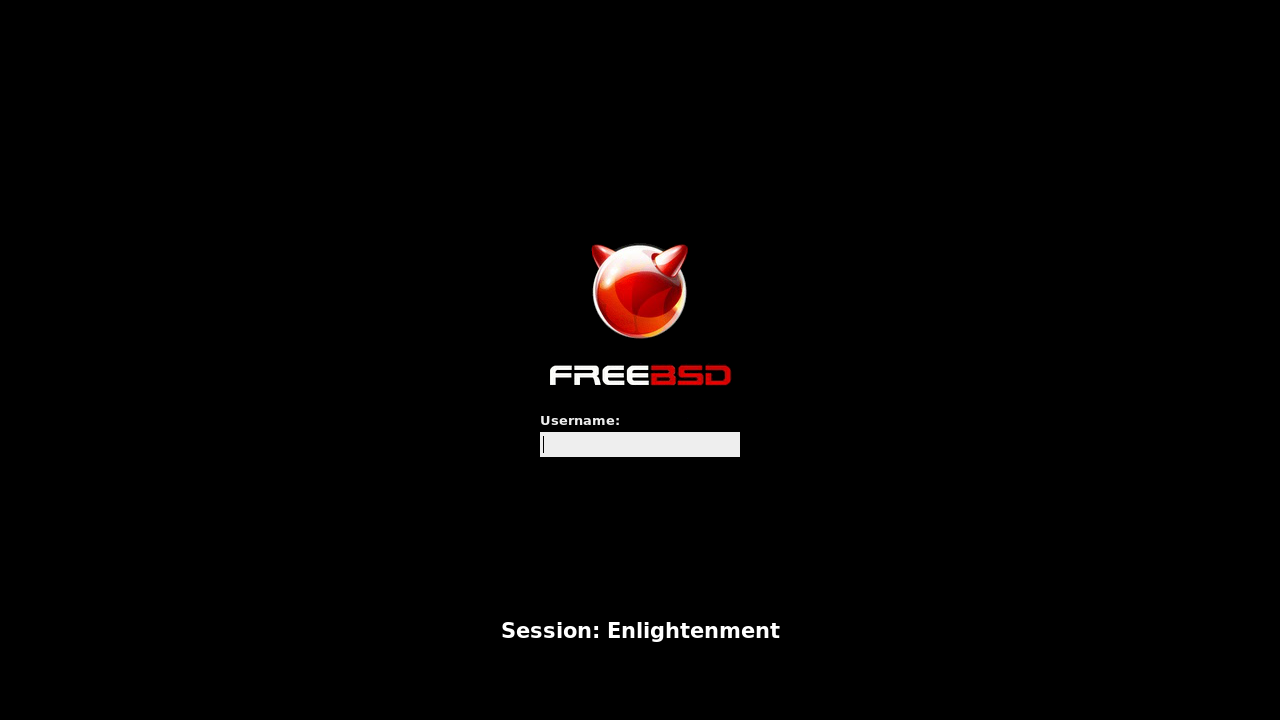 「Enlightenment FreeBSD 10.3」-「ログイン画面」