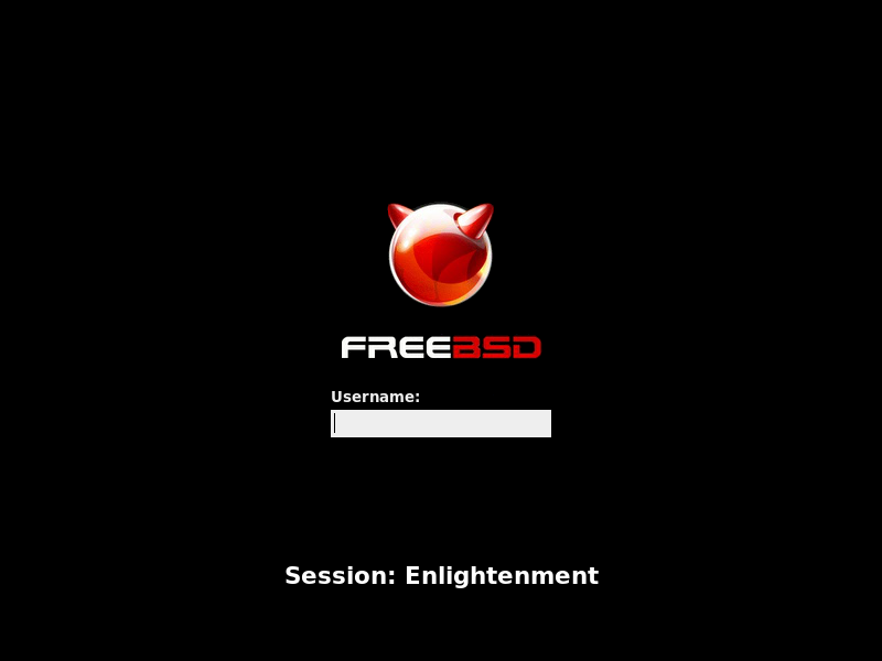 「Enlightenment FreeBSD 12.0」-「ログイン画面」