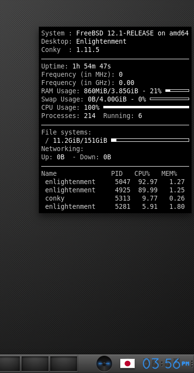「Enlightenment FreeBSD 12.1」-「Conky」「表示」