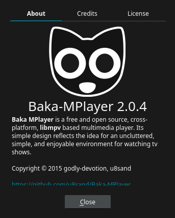 「Enlightenment FreeBSD 11.4」-「Baka-MPlayer」「バージョン情報」