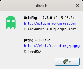 「GNOME FreeBSD 11.4」-「OctoPkg」「バージョン情報」