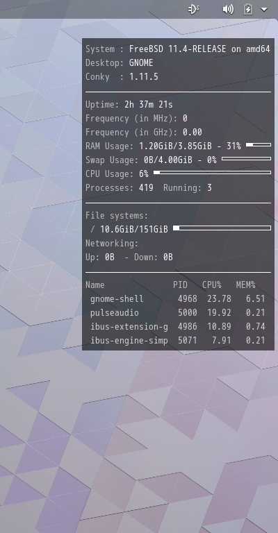 「GNOME FreeBSD 11.4」-「Conky」「表示」