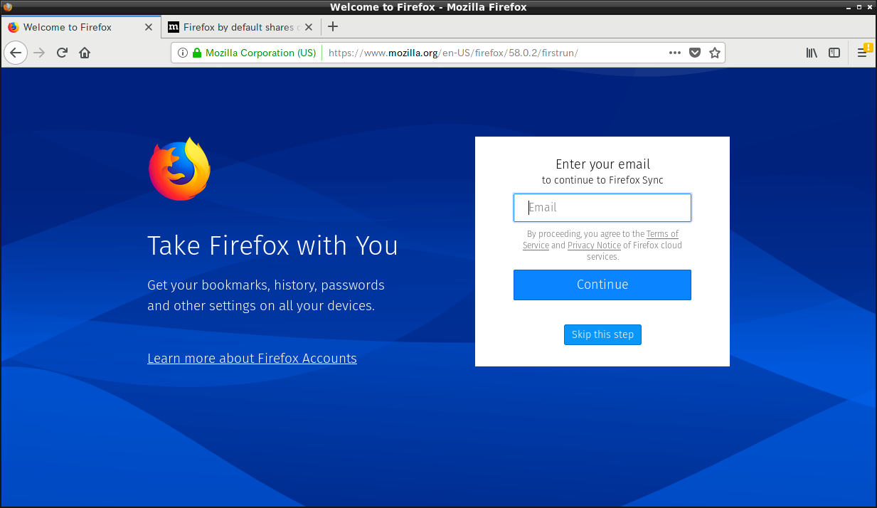 「LXDE FreeBSD 12.0」-「Firefox」「起動直後」