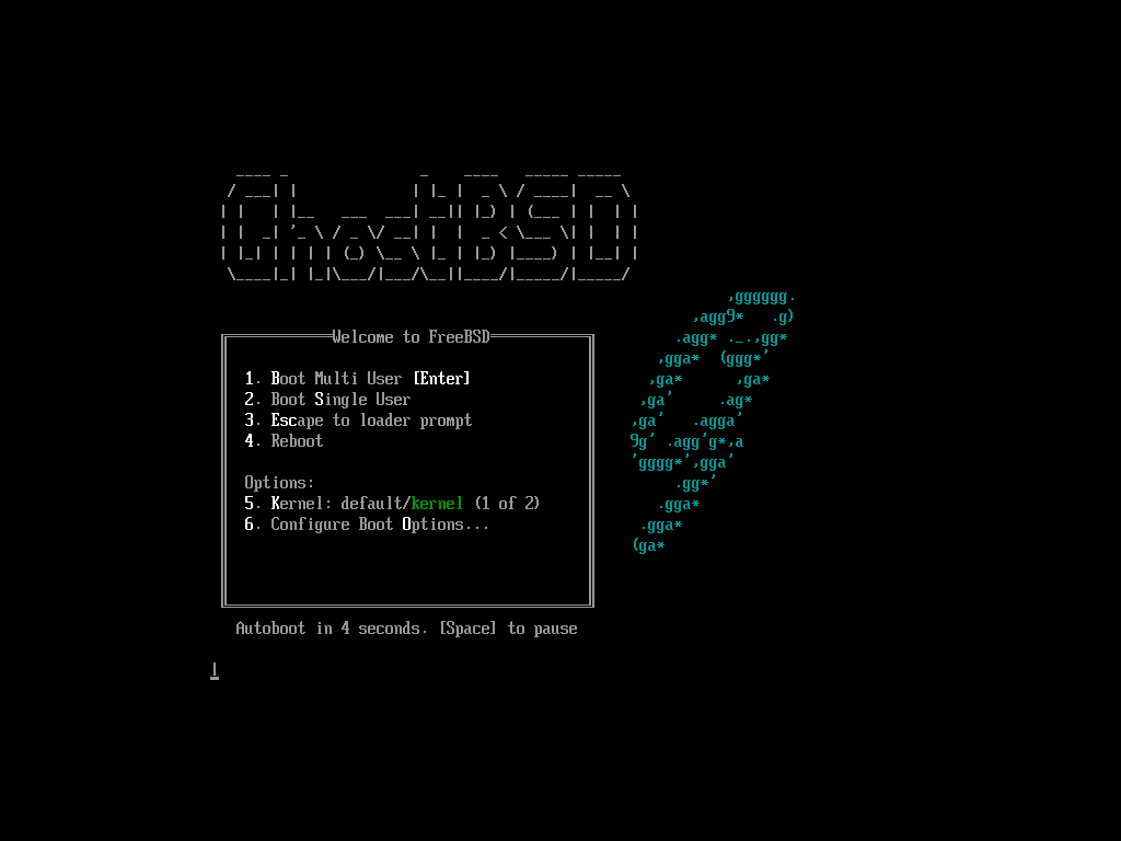 「GhostBSD 11.1 MATE」-「boot 画面」