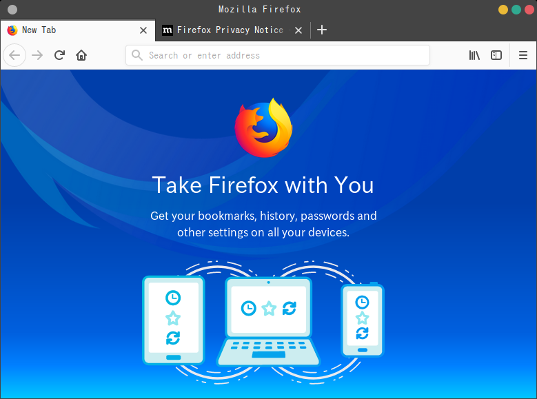 「GhostBSD 18.10 MATE」-「Firefox」「起動直後」