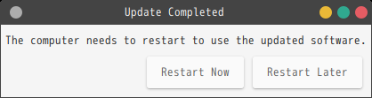 「GhostBSD 18.12 MATE」-「Update Station」-「Update completed」