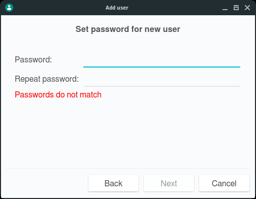「NomadBSD 1.4」-「Set password for new user」