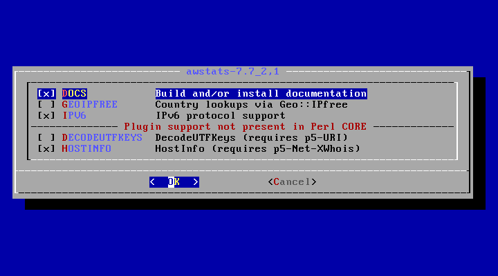 「FreeBSD 12.1 RELEASE」-「/usr/ports/www/awstats」「make config」
