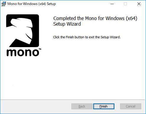 「Mono」-「Completed the Mono for Windows Setup Wizard」
