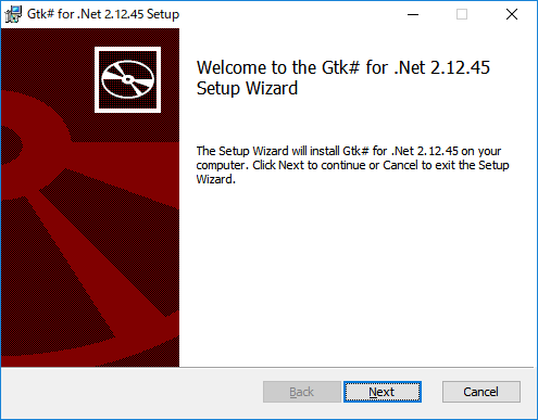 「gtk#」-「Welcome to the GTK# for .Net Setup Wizard」