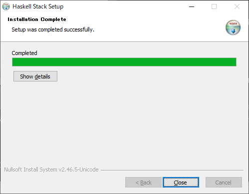 「Haskell Stack Setup」-「Installation Completes」