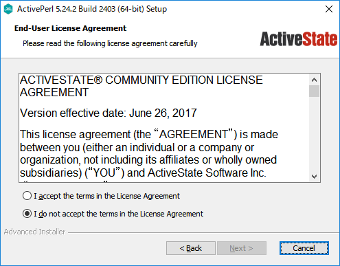 「ActivePerl」-「インストール」「End-User-License Agreement」
