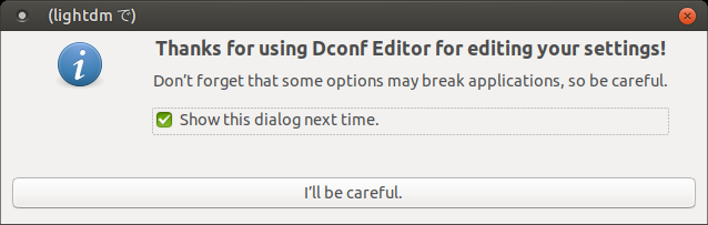 「Ubuntu MATE 17.10」-「Thanks for using Dconf Editor for editing your settings!」