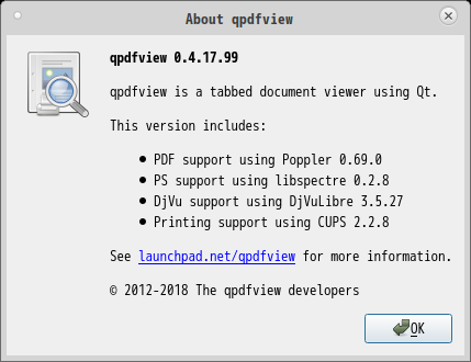 「MX Linux 19.1 MATE」-「qpdfview」「バージョン情報」