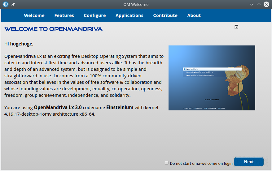 OpenMandriva - 3.03 -「Welcome Screen」