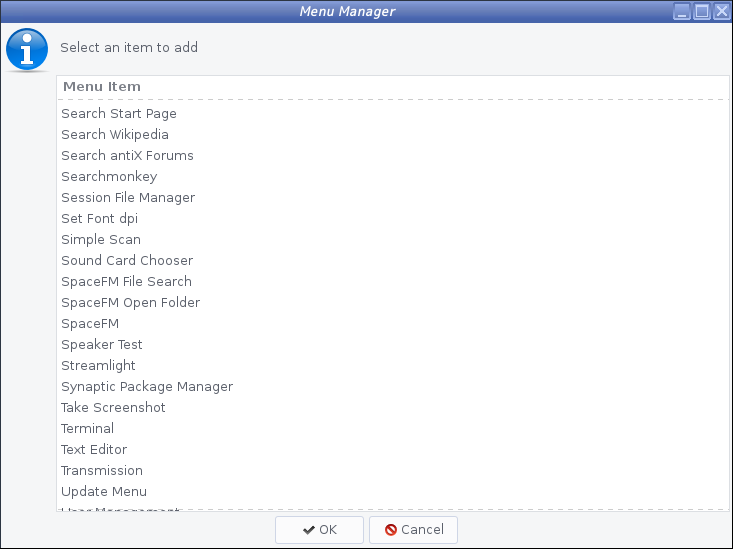 antiX - 17.3.1 -「Menu Manager」-「Personal」- 表示中