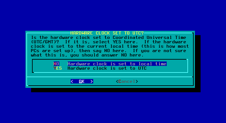 Slackware - 14.2 - インストール - HARDWARE CLOCK SET TO UTC