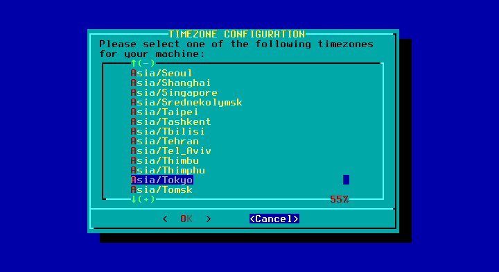 Slackware - 14.2 - インストール - TIME ZONE CONFIGURATION