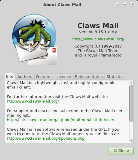 Slackware - 14.2 - Claws Mail - バージョン情報